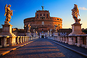 The Mausoleum of Hadrian, usually known as the Castel Sant'Angelo, is a towering cylindrical building in Rome, central Italy, initially commissioned by the Roman Emperor Hadrian as a mausoleum for himself and his family.