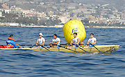 San Remo, ITALY,  Qualification Races, men's quadruple sculls M4X+, Ravenna SC. turning on the second bouy.  2008 FISA Coastal World Championships. Friday 17/10/2008. [Photo, Peter Spurrier/Intersport-images] Coastal Rowing Course: San Remo Beach, San Remo, ITALY