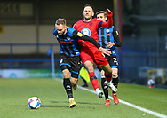 Ryan McLaughlin of Rochdale (2)  and Wigan Athletic midfielder Dan Gardner (15) go shoulder to shoulder during the EFL Sky Bet League 1 match between Rochdale and Wigan Athletic at the Crown Oil Arena, Rochdale, England on 16 January 2021.