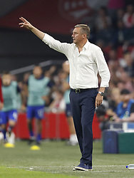 Dynamo Kyiv coach Aleksandr Khatskevich during the UEFA Champions League play offs round first leg match between Ajax Amsterdam and Dynamo Kyiv at the Johan Cruijff Arena on August 22, 2018 in Amsterdam, The Netherlands