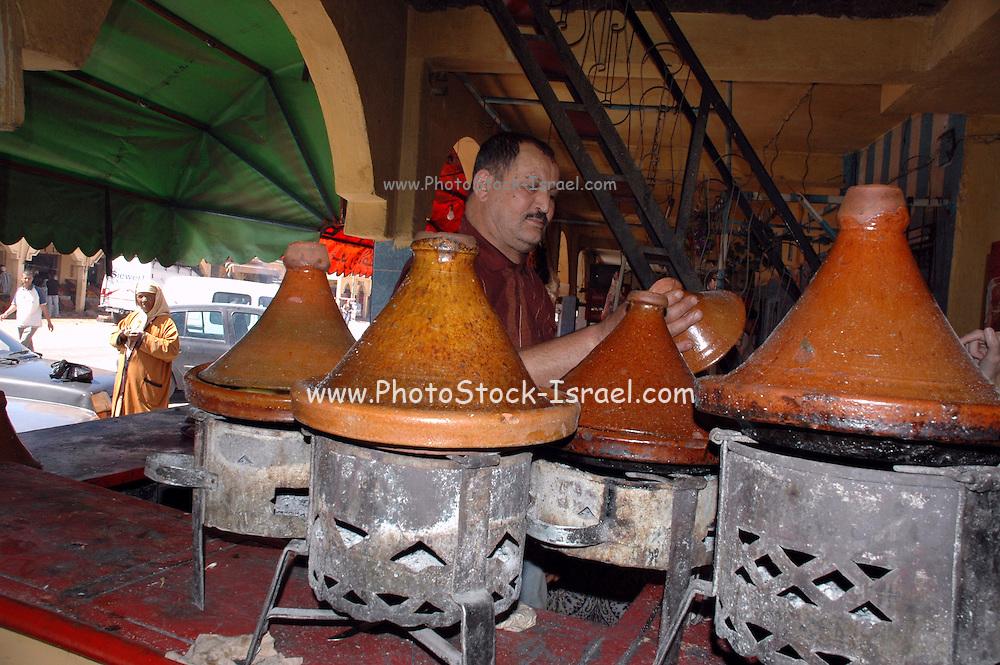 Morocco, Erfoud, Traditional Moroccan Tajin cooking