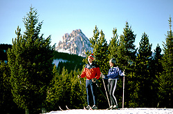 Montana: Lone Mountain, Cross Country skiing, skiers,  Photo: mtbose102.Photo copyright Lee Foster, www.fostertravel.com, 510/549-2202, lee@fostertravel.com