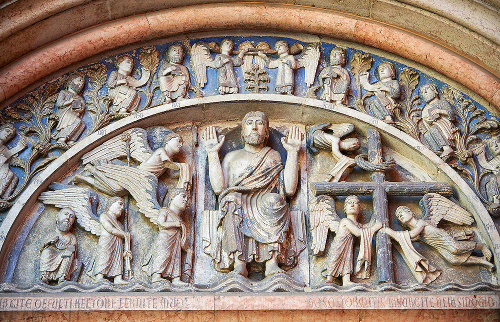 West portal lunette relief sculptures depicting Christ giving a blessing with angels on one side and the Cross on the other on the Romanesque Baptistery of Parma, circa 1196, (Battistero di Parma), Italy .<br /> <br /> If you prefer you can also buy from our ALAMY PHOTO LIBRARY  Collection visit : https://www.alamy.com/portfolio/paul-williams-funkystock/romanesque-art-antiquities.html<br /> Type -     Parma    - into the LOWER SEARCH WITHIN GALLERY box. <br /> <br /> Visit our ROMANESQUE ART PHOTO COLLECTION for more   photos  to download or buy as prints https://funkystock.photoshelter.com/gallery-collection/Medieval-Romanesque-Art-Antiquities-Historic-Sites-Pictures-Images-of/C0000uYGQT94tY_Y
