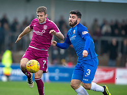 Arbroath's Danny Denholm and Montrose Andrew Steeves. Arbroath 2 v 0 Montrose, Scottish Football League Division One played 10/11/2018 at Arbroath's home ground, Gayfield Park.