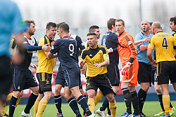 Falkirk's Phil Roberts gets involved in a melee after Falkirk were awarded a penalty.<br /> Falkirk 1 v 1 Livingston, Scottish Championship game today at The Falkirk Stadium.<br /> © Michael Schofield.