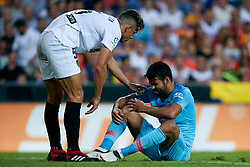 August 20, 2018 - Valencia, Valencia, Spain - Diego Costa (R) of Atletico de Madrid reacts on the pitch next to Gabriel Paulista of Valencia CF during the La Liga match between Valencia CF and Club Atletico de Madrid at Mestalla on August 20, 2018 in Valencia, Spain  (Credit Image: © David Aliaga/NurPhoto via ZUMA Press)