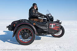 Viacheslav Butkevich on his Ural with sidecar in the Baikal Mile Ice Speed Festival. Maksimiha, Siberia, Russia. Friday, February 28, 2020. Photography ©2020 Michael Lichter.