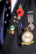 Medals and squadron insignia, worn by Derek Jones, of the famous No. 49 Squadron, Royal Air Force, at Anzac Day service, (April 25, 2010). Mundaring, Western Australia