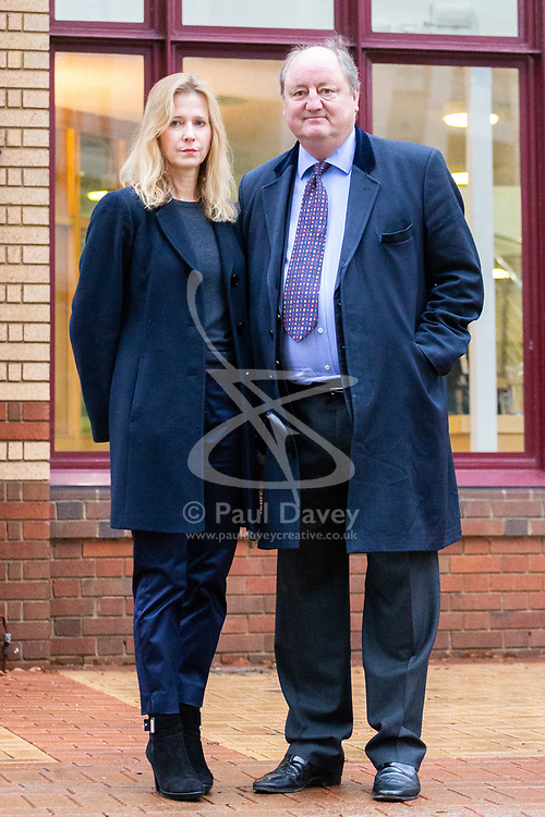 NNLord: Lord Nicholas Monson and the mother of his son Rupert, Karen Green, at Woking Corner's Court as they attend an inquest into the death of his son who was said to have been addicted to 'skunk' cannabis. Woking, Surrey, December 05 2018.
