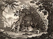 View of the Indians of Terra Del Fuego with a representation of a Hut, and their mode of living'.  James Cook (1728-1779) British navigator, explorer and cartographer visited Terra del Fuego, at the south of South America, in January 1769 during his first voyage in the 'Endeavour' (1768-1771). Magellan was the first European to encounter the Fuegians on his voyage of circumnavigation (1519-1522).  Engraving from 'Captain Cook's Original Voyages Round the World' (Woodbridge, Suffolk, c1815).