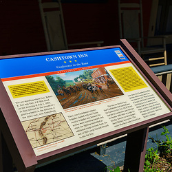 Cashtown, PA, USA - September 6, 2020: A sign describing the historic significance of the Cashtown Inn, located about 8 miles west of Gettysburg.