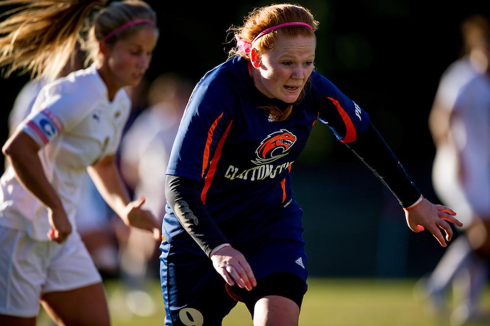 Oct 23, 2013; Morrow, GA, USA; Clayton State women's soccer player Saidhbh Collins against Georgia Southwestern at CSU. CSU won 4-0. Photo by Kevin Liles/kevindliles.com