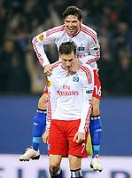 Fotball<br /> Tyskland<br /> Foto: Witters/Digitalsport<br /> NORWAY ONLY<br /> <br /> 02.12.2009<br /> <br /> Jubel 1:0 v.l. Torschuetze Marcell Jansen, Marcus Berg HSV <br /> Europa League Hamburger SV - SK Rapid Wien