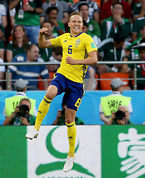 YEKATERINBURG, June 27, 2018  Ludwig Augustinsson of Sweden celebrates scoring during the 2018 FIFA World Cup Group F match between Mexico and Sweden in Yekaterinburg, Russia, June 27, 2018. (Credit Image: © Li Ming/Xinhua via ZUMA Wire)