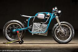 Night Shift Bikes' Matt Candler converted a 1973 BMW R75 to a Nissan Leaf battery powered bike. The Handbuilt Show. Austin, Texas USA. Friday, April 12, 2019. Photography ©2019 Michael Lichter.
