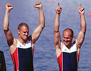 2000 Sydney Olympic Game, Olympic Regatta, Penrith Lakes, Penrith, NSW. AUSTRALIA:   NOR M2X Silver medallist, stroke [right] BEKKEN, Fredrik and  TUFTE, Olaf. Peter Spurrier. .email images@intersport-images... 2000 Olympic Regatta Sydney International Regatta Centre (SIRC) 2000 Olympic Rowing Regatta00085138.tif