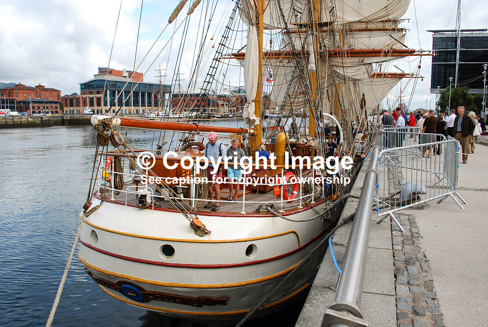 Tall Ships Atlantic Challenge, Belfast Maritime Festival. Netherlands registered Europa, a steel-hulled 3-masted barque, moored in Belfast, N Ireland, UK, after its Atlantic crossing. 200908132940.<br /> <br /> Copyright Image from Victor Patterson, Belfast, UK<br /> <br /> t: +44 28 9066 1296 (from Rep of Ireland 048 9066 1296)<br /> m: +44 7802 353836<br /> e: victorpattersonbelfast@gmail.com<br /> <br /> www.images4media.com<br /> <br /> Please see my full Terms and Conditions of Use at https://www.images4media.com/p/terms-conditions - it is IMPORTANT that you familiarise yourself with them.<br /> <br /> Images used online incur an additional cost. This cost should be agreed in writing in advance. Online images must be visibly watermarked i.e. © Victor Patterson or that of the named photographer within the body of the image. The original metadata must not be deleted from images used online.<br /> <br /> This image is only available for the use of the download recipient i.e. television station, newspaper, magazine, book publisher, etc, and must not be passed on to a third party. It is also downloaded on condition that each and every usage is notified within 7 days to victorpattersonbelfast@gmail.com.<br /> <br /> The right of Victor Patterson (or the named photographer) to be identified as the author is asserted in accordance with The Copyright Designs And Patents Act (1988). All moral rights are asserted.