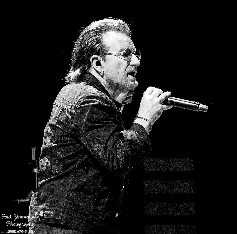 NEWARK, NJ - JUNE 29: (EDITORS NOTE: Image has been converted to black and white) Bono of U2 performs onstage during the eXPERIENCE + iNNOCENCE TOUR at Prudential Center on June 29, 2018 in Newark, New Jersey. (Photo by Paul Zimmerman/Getty Images) *** Local Caption *** Bono