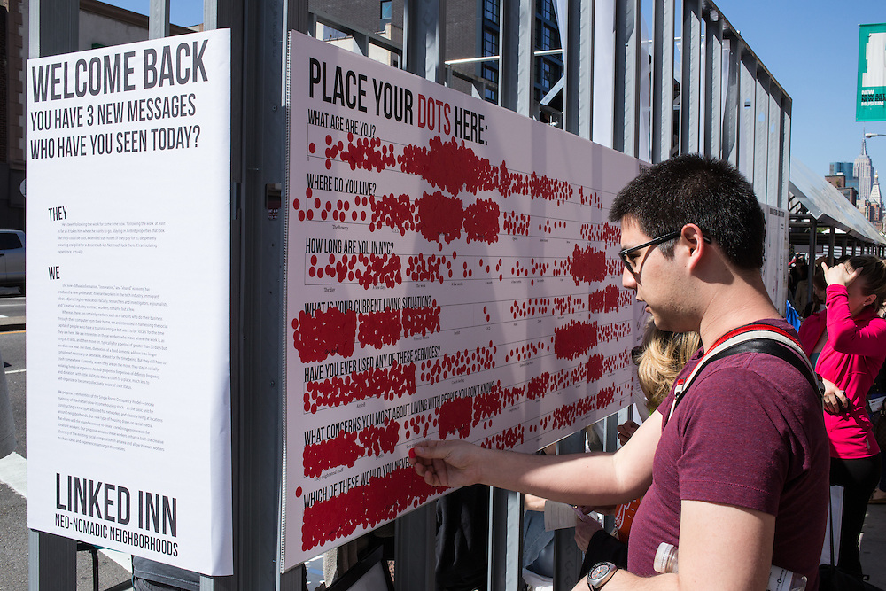 A participatory exhibit gaphically illustrating demographic information on visitors.