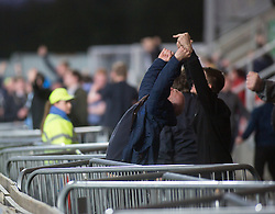 South stand fans at the end of the match. Falkirk 3 v 2 Hibernian, Scottish Premiership play-off final, played 13/5/2016 at The Falkirk Stadium.