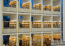 Bookshelves on three levels inside modern Malmo Stadsbibliotek in Gotland Sweden 2008