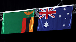 A general view of the flags of Zambia and Australia (right) at the Carrara Stadium during day seven of the 2018 Commonwealth Games in the Gold Coast, Australia. PRESS ASSOCIATION Photo. Picture date: Wednesday April 11, 2018. See PA story COMMONWEALTH Athletics. Photo credit should read: Danny Lawson/PA Wire. RESTRICTIONS: Editorial use only. No commercial use. No video emulation.