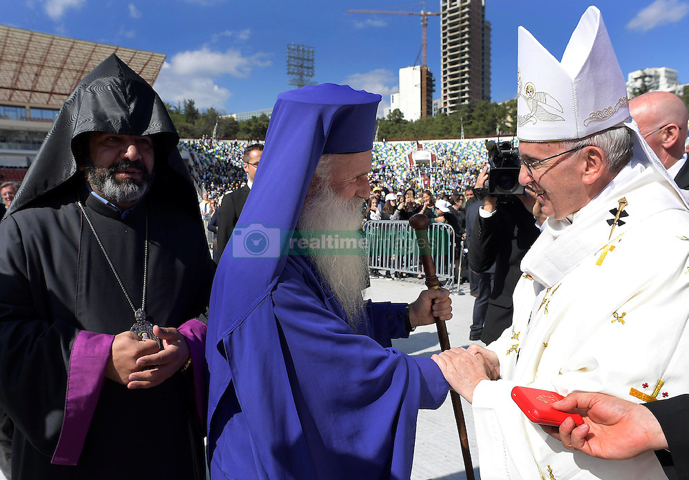 Pope Francis celebrates a Holy Mass at the stadium in Tbilisi, Georgia on October , 2016 on the second day of a three-day trip to the Caucasus.The head of the Catholic Church was invited to the ex-Soviet Republic by his counterpart in the Georgian Orthodox Church, Patriarch Ilia II. PHOTO by ABACAPRESS.COM