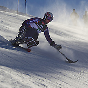 Timothy Farr, Great Britain, in action during the Men's Giant Slalom Sitting, Adaptive competition at Coronet Peak, during the Winter Games. Queenstown, New Zealand, 23rd August 2011. Photo Tim Clayton.