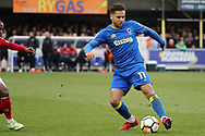 SFC Wimbledon attacker Harry Forrester (11) dribbling during the The FA Cup match between AFC Wimbledon and Charlton Athletic at the Cherry Red Records Stadium, Kingston, England on 3 December 2017. Photo by Matthew Redman.