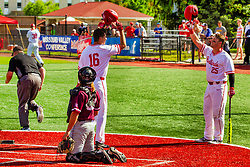 20 May 2019:  Derek Parola and Jordan Libman helmet bump to celebrate a home run b Derek Parola. Missouri Valley Conference Baseball Tournament - Southern Illinois Salukis v Illinois State Redbirds at Duffy Bass Field in Normal IL<br /> <br /> #MVCSPORTS