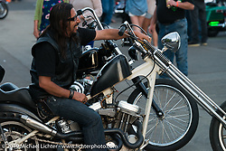 Buck Chavarria at the Steamboat Springs downtown street party and bike show during the Rocky Mountain Regional HOG Rally, Colorado, USA. Friday June 9, 2017. Photography ©2017 Michael Lichter.