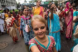 June 26, 2017 - Kolkata, West Bengal, India - Thousands of devotees have taken part in this holy procession with great respect, to seek the blessings of lord jagannath during rath yatra in Kolkata, India. Rath Yatra or the cart festival is more than 5000 years old festival which is mainly celebrated in Puri, Orissa with great zeal. This eminent festival marks the return of Lord Krishna to Vrindavan with his elder brother balabhadra and sister Subhadra. The rath yatra is a journey in a chariot accompanied by the public and it is usually celebrated in the month of June or July.  (Credit Image: © Sushavan Nandy/NurPhoto via ZUMA Press)