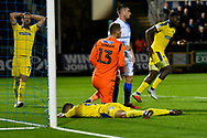 Kwesi Appiah (9) of AFC Wimbledon looks dejected after  shooting at goal missing the target during the EFL Sky Bet League 1 match between Bristol Rovers and AFC Wimbledon at the Memorial Stadium, Bristol, England on 23 October 2018.
