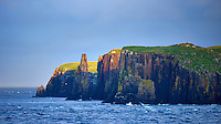 Morning View of Cliffs on an Island Off the North Coast of Scotland for the Deck of the MV Explorer. Semester at Sea, Summer 2014 Voyage. Image taken with a Nikon Df camera and 300 mm f/2.8 VR lens (ISO 100, 300 mm, f/2.8, 1/250 sec). Raw image processed with Capture One Pro, Focus Magic, and Photoshop CC 2014.