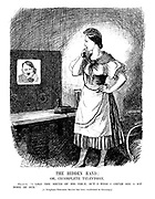 """The Hidden Hand; or, Incomplete Television. France. !I like the sound of his voice, but I wish I could see a bit more of him."""" [A Telephone-Television Service has been established in Germany.]"""