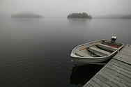 A foggy morning on Loon Lake near Haliburton, Ontario, Canada