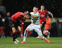 Yeovil Town's Kieffer Moore battles for the ball with Manchester United's Chris Smalling  - Photo mandatory by-line: Joe meredith/JMP - Mobile: 07966 386802 - 04/01/2015 - SPORT - football - Yeovil - Huish Park - Yeovil Town v Manchester United - FA Cup - Third Round