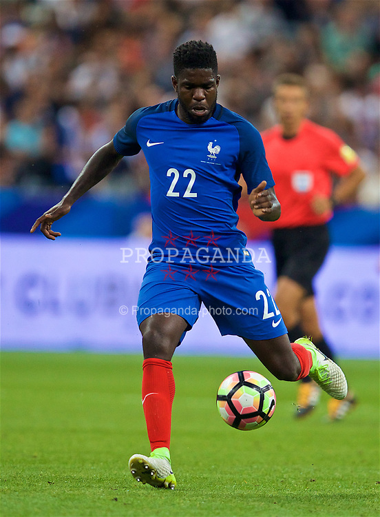 PARIS, FRANCE - Tuesday, June 13, 2017: France's Samuel Umtiti in action against England during an international friendly match at the Stade de France. (Pic by David Rawcliffe/Propaganda)