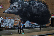 Giant hedgehog animal mural by street artist Roa on Chance Street in Shoreditch. East London.