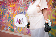 08/09/2015 - Lisbon, Portugal: A stencil with the name of Aida on the wall during a Lata 65 workshop. Lata 65 was project created by Lara Seixo Rodrigues and is a creative workshop teaching street art to senior citizens. (Eduardo Leal)