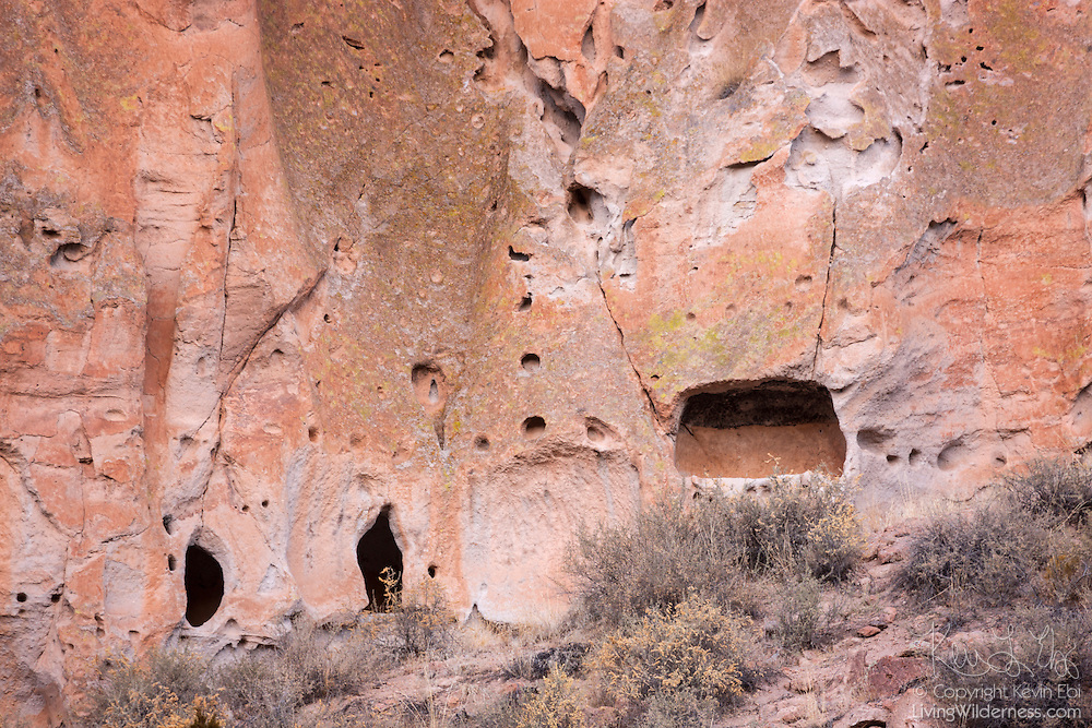 Numerous caves are visible a soft rock cliff wall in Bandelier National Monument, New Mexico. The national monument protects caves that were used by humans for shelters more than 11,000 years ago.