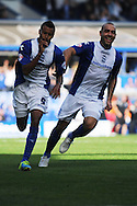 Birmingham City's Jesse Lingard (l) celebrates after he scores his 2nd goal during the Skybet championship match, Birmingham city v Sheffield Wednesday at St.Andrews in Birmingham, England on Sat 21st Sept 2013. pic by Jeff Thomas/Andrew Orchard sports photography