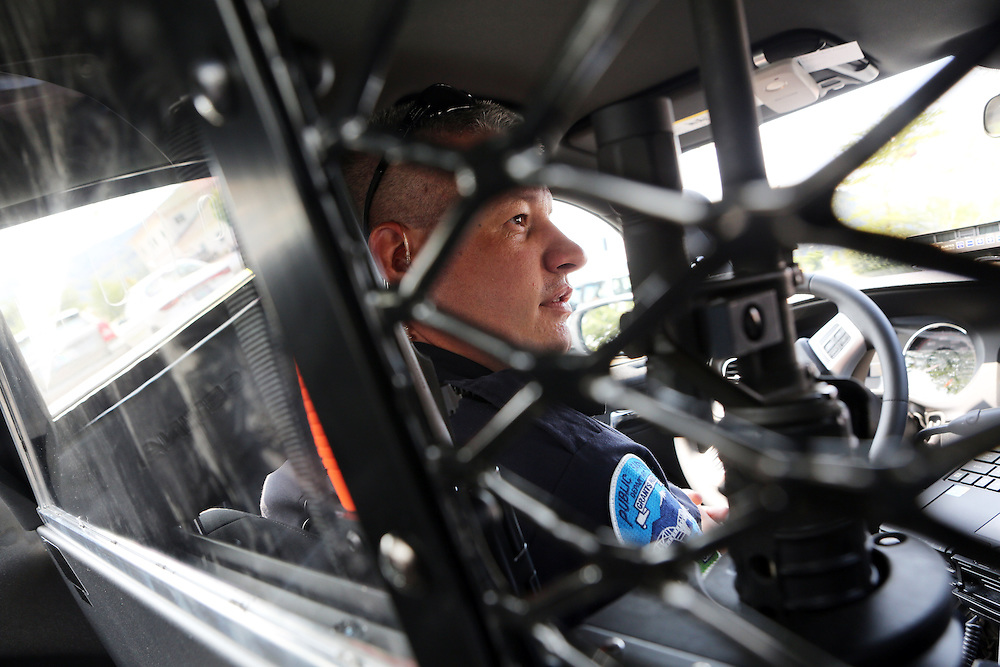 Grants Pass Police Sgt. Todd Moran on patrol. Since federal timber payments have ceased in Josephine County and other parts of Southwest Oregon, the tax-base has shrunk. In Grants Pass, the county seat, shoplifting and other property crime are up, and law enforcement personnel numbers are down.