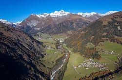 THEMENBILD - Panoramaansicht Grossglockner (Glockner), höchster Berg Österreichs (3798m) und umliegende Gipfel der Glocknergruppe, im Tal die Gemeinde Kals am Grossglockner mit den Ortsteilen, Grossdorf, Burg, Glor, Ködnitz, und den Seitentälern Dorfertal, Teischnitztal, Ködnitztal im Herbst, am Freitag, 6. November 2020 in Kals am Grossglockner // PPanoramic view of Grossglockner (Glockner), highest mountain of Austria (3798m) and surrounding peaks of the Glockner Group, in the valley the community of Kals am Grossglockner with the districts, Grossdorf, Burg, Glor, Ködnitz, and the side valleys Dorfertal, Teischnitztal, Ködnitztal in autumn, on Friday, November 6, 2020 in Kals am Grossglockner, Austria. EXPA Pictures © 2020, PhotoCredit: EXPA/ Johann Groder