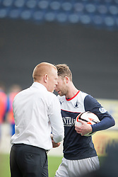Falkirk's Rory Loy takes the match ball after scoring a hat trick, with Falkirk's manager Gary Holt.<br /> Falkirk 5 v 0 Cowdenbeath, Scottish Championship game played today at The Falkirk Stadium.<br /> © Michael Schofield.