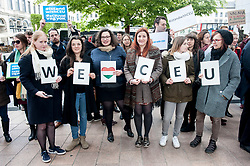 April 26, 2017 - Brussels, Bxl, Belgium - Supporters of Central European University hold the prostest in front of European Parliament headquarters in Brussels, Belgium on 26.04.2017 Hungarian Prime Minister will give a speach in front of the Parliament today by Wiktor Dabkowski (Credit Image: © Wiktor Dabkowski via ZUMA Wire)