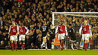 Fotball<br /> England 2004/2005<br /> Foto: SBI/Digitalsport<br /> NORWAY ONLY<br /> <br /> Arsenal v Manchester United<br /> Barclays Premiership. 01/02/2005<br /> <br /> Arsenal's back four let in four as Ronaldo celebrates in the background.