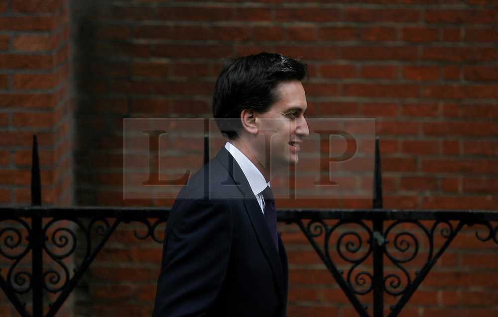 © Licensed to London News Pictures. 12/06/2012. London,Britain.Ed Miliband,Labour Party Leader leaves the Leveson Inquiry in the Royal Courts of Justice. Photo credit : Thomas Campean/LNP..