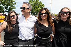 Cory Ness with his wife Christine Le Pera and nieces Taylor Foxworthy (L) and Samantha Foxworth (R) at the Arlen Ness Memorial - Celebration of Life at the Arlen Ness Motorcycles store. Dublin, CA, USA. Saturday, April 27, 2019. Photography ©2019 Michael Lichter.
