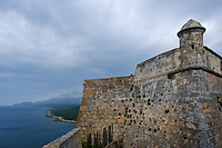 SANTIAGO DE CUBA, CUBA - CIRCA JANUARY 2020: San Pedro de la Roca Castle. The large fort was built to defend the important port of Santiago de Cuba. The design of the fortification was based on Italian and Renaissance architecture. This place is a designated Unesco World Heritage Site.